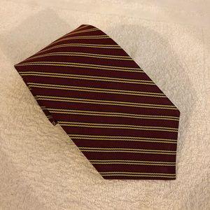 Brooks Brothers Maroon w/ Gold & Navy Stripe Tie